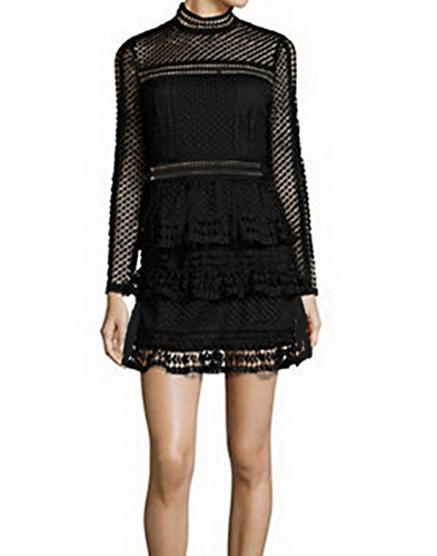 celebritystyle-maroon-black-high-neck-lace-mini-dress-s-black