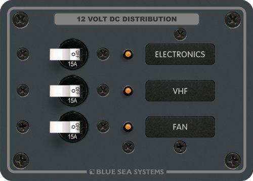 Marine Distribution Panels - Traditional Metal DC Panel - 3 Positions