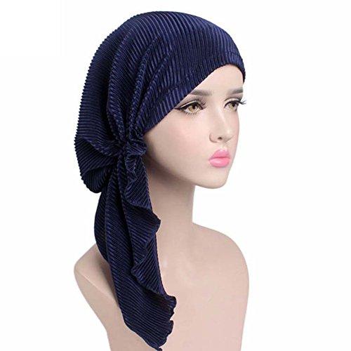Womens Chemo Hat Pre Tied Ruffle Head Scarves Turban Headwear for Cancer