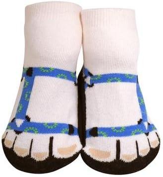 JazzyToes Unisex Baby Socks Trekker Sandal in Blue, 0-12 Months