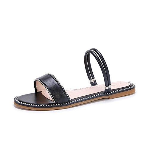 Sandalias Hn Del Playa Redondo Pie Ponerse Black Zapatos Furtivamente Mirar Chanclas Diamante Zapatillas Dedo Mujer Shoes Bohemia Verano Plano HIzWI1n