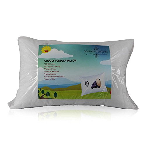 Continental Bedding Toddler Pillow 13 X 18 - Soft & Hypoallergenic - Made in USA - Better Sleep for Toddlers,