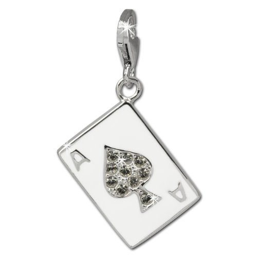 (SilberDream Charm playing card spade ass white enameled white zirconia 925 Sterling Silver FC841W)