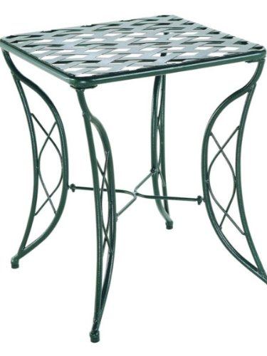 Diamond Lattice Outdoor Iron Side Table For Sale