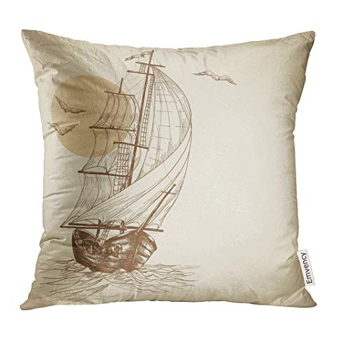 UPOOS Throw Pillow Cover Ship Vintage Sailboat Boat Sketch Decorative Pillow Case Home Decor Square 16x16 Inches Pillowcase