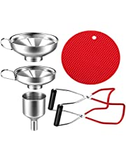 5 Pieces 304Stainless Steel Canning Jar Lifter Tongs Canning Funnel Set for Wide and Regular Jars Liquid Funnel Anti-scalding Insulation pad Canning Kit Essentials Easy to Clean and Dishwasher Safe