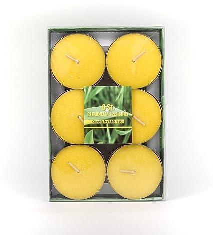 Citronella Duftlichter Jumbo Ø ca. 5,8 cm Zitrone Teelichter Outdoor Brenndauer Ca. 3h Anti Mücken Kerzen