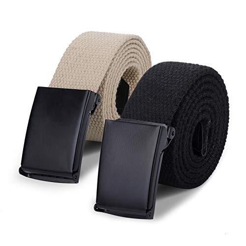AWAYTR Canvas Web Belts for Boys - School Uniform Casual for Jeans Adjustable four Sizes Cotton Strap Belt (80cm,Khaki/Black