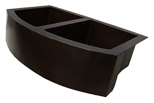 Copper Double Bowl Apron - Farmhouse Rounded Apron, Double Bowl Copper Sink (Standard: 33