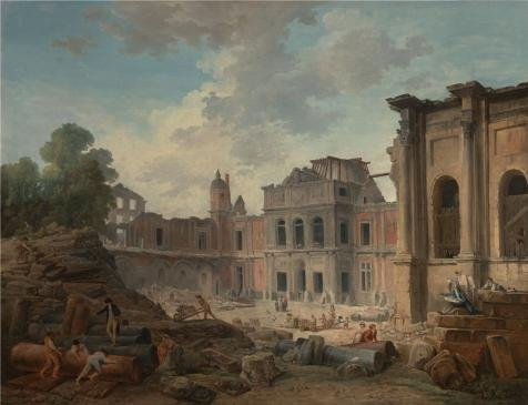 high quality polyster Canvas ,the Amazing Art Decorative Prints on Canvas of oil painting 'Demolition of the Chteau of Meudon, 1806 By Hubert Robert', 8x10 inch / 20x26 cm is best for Kitchen gallery art and Home artwork and Gifts