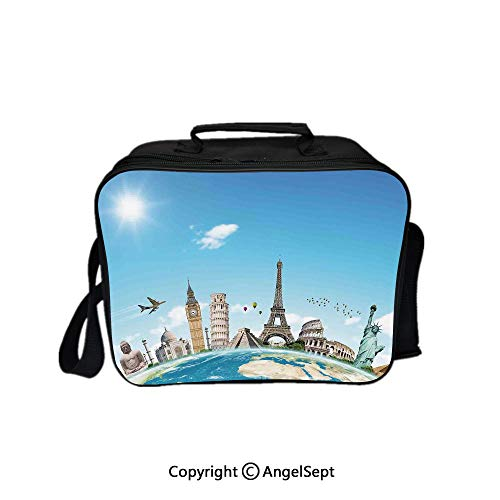 Multifunctional Lunch Bags for Women Wide Open,Famous Monuments Of Pisa Taj Mahal Giza Pyramids Paris Landmarks Theme Light Blue Ivory White 8.3inch,Lunch Box With Double Deck Cooler Tote -