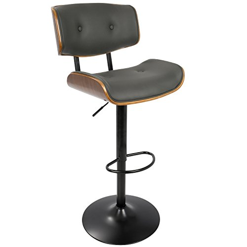 - WOYBR BS-JY-LMB WL+GY Wood, Pu Leather, Metal Lombardi Barstool