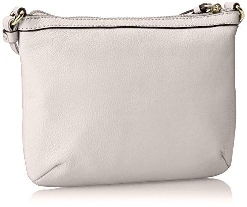 Calvin Klein Pebble Leather Zip Cross Body Bag, White, One Size