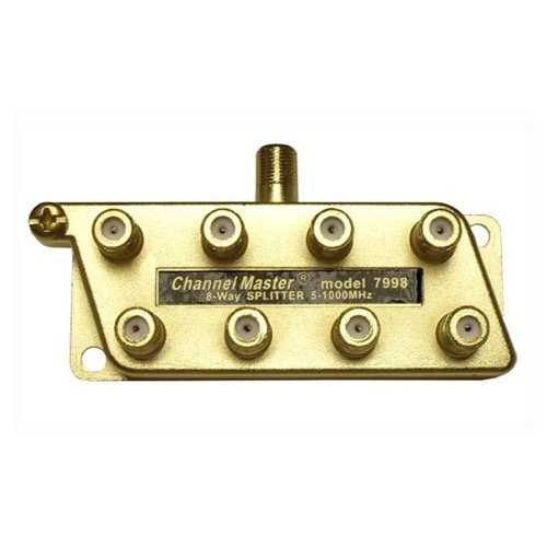 8 Way 1 GHz Splitter Gold All Port Power Coaxial Cable UHF VHF Commercial Grade HDTV 5 - 1000 MHz Antenna Signal, Coax RF DC (Eight Channel Splitter)