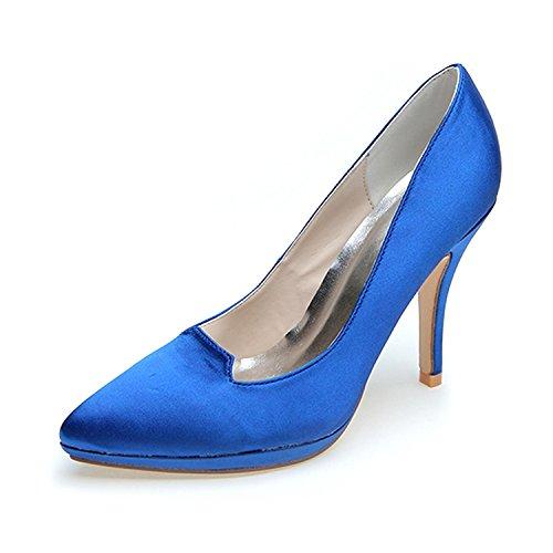 L@YC Tacones altos De Mujer Puntiagudos Primavera / OtoñO Boda De Seda EláStica / Fiesta Y Noche Blue