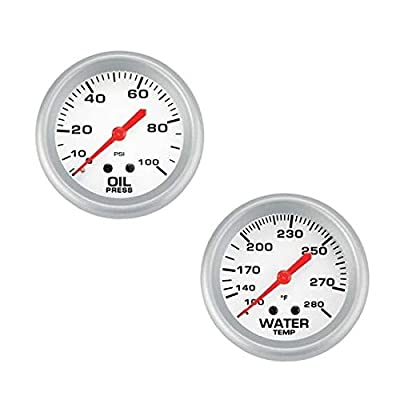 Speedway 2-5/8 Inch Oil Press & Water Temp Gauge Kit: Automotive