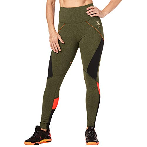 STRONG by Zumba High Waisted Ankle Length Compression Workout Leggings for Women, Olive Green, M