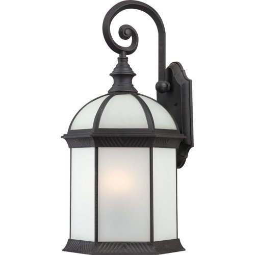 Nuvo Lighting 60/4983 Boxwood Energy Star One Light Small Wall Lantern/Arm Down Bulb Included Frosted Glass Textured Black Outdoor Fixture