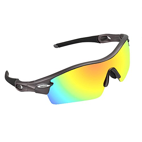 OBERLY S02 Polarized Sports Sunglasses with 4 Interchangeable Lenses for Men Women Cycling Baseball Golf Fishing Driving - Sports Cycling Sunglasses Prescription