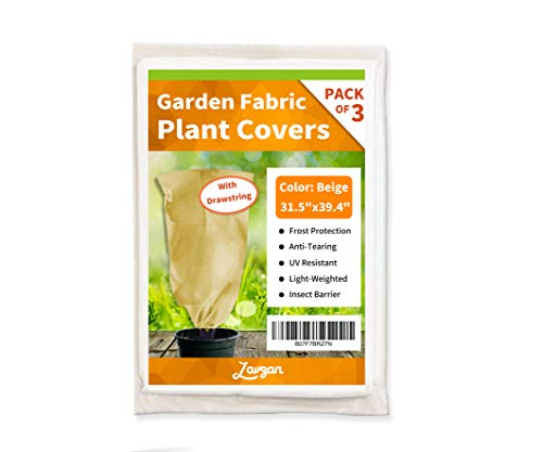 LAVZAN 31.5″ x 39.4″ (3Pcs) Drawstring Plant Cover Bags Warm Worth Frost Blanket Frost Protection Bags for Shrubs Dwarf Trees Flowers from Bad Weather or Pests