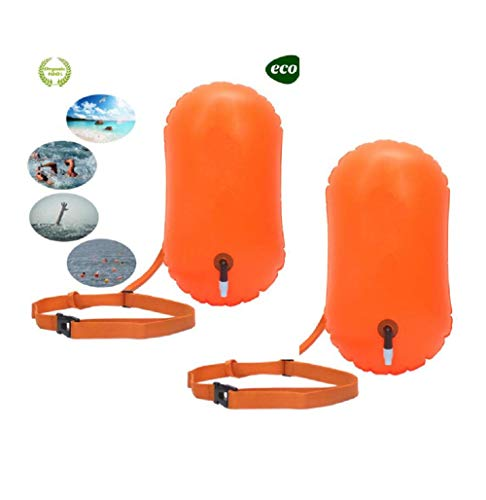 (E-Onfoot Swim bouy Swim Float and Drybag for Open Water Swimmers and Triathletes, Highly Visible Bouy Float Air Bag for Safty Swim Training (Orange-2pcs))