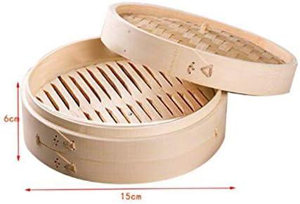 LEGENDAS Bamboo Steamer Steamer Oriental Cooker with Lid Bamboo Basket Steamer 15x6cm 2pcs Bamboo Basket