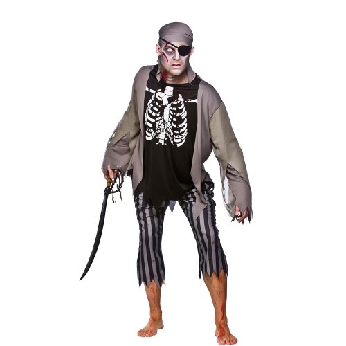 Mens Skeleton Pirate Costume for Living Dead Halloween Skull Pirates Cosplay Large Chest Size 44