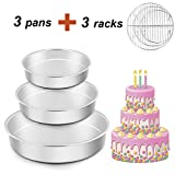 TeamFar Cake Pan with Rack Set of 6, 8'' & 9½'' & 11'', Stainless Steel Round Cake Pan Tier Cake Pan with Cooling Rack Set, For Baking/Steaming, Healthy & Heavy Duty, Easy Clean & Dishwasher Safe