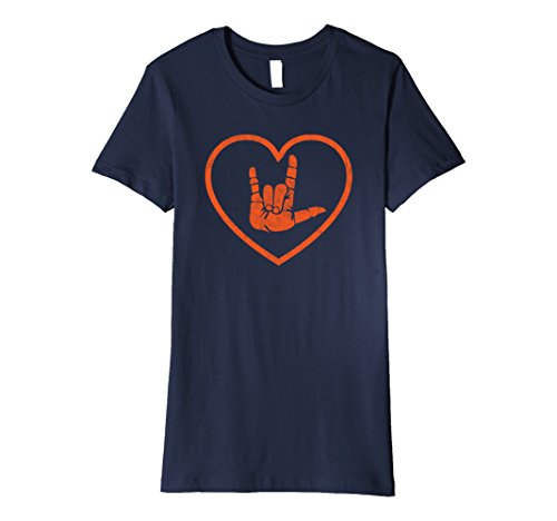 Female Sign (Womens Sign Language I Love You Sign - ASL Retro Distressed Heart XL Navy)