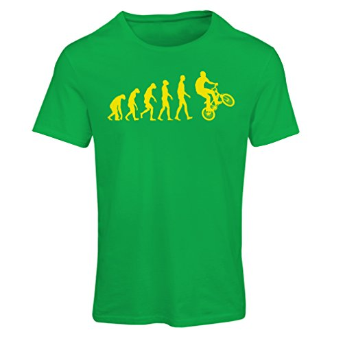 T Shirts for Women Human Evolution and Bike - Bicycling – Bicycle Accessories, Cycling Apparel (Small Green Multi Color)