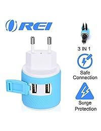 Orei-Adaptador de Enchufe de Viaje USB Dual-Protección contra sobretensiones, Type C - Most of Europe, Azul