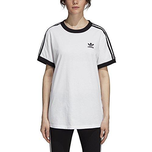 Short Tee 3 Sleeve Stripes (adidas Originals Women's 3-Stripes Tee, White, XS)