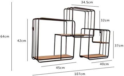 Estante de pared multifuncional Estante de pared de polígono moderno Material de metal de hierro y madera para sala de estar Dormitorio utilizado para estante de biblioteca Estante de vinoteca decorac
