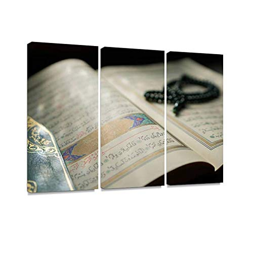 (7houarts Quran Canvas Wall Artwork Poster Modern Home Wall Unique Pattern Wall Decoration Stretched and Framed - 3 Piece)