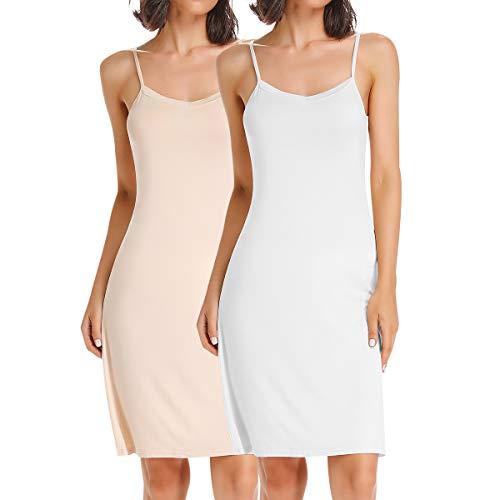 SLIMBELLE Damen Unterkleid mit Verstellbarer Spaghettiträger Full Slip Unterröcke Nachtkleid Negligee Sleepwear Nachtwäsche für Cup A-C