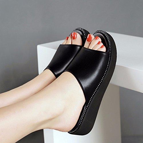 Salvaje Pendiente Zapatillas Mujer Mujeres white Agua Verano GTVERNH Sandalias Taladro Zapatos De Fondo Tacón Fondo Plano Grueso De S0xwfqC