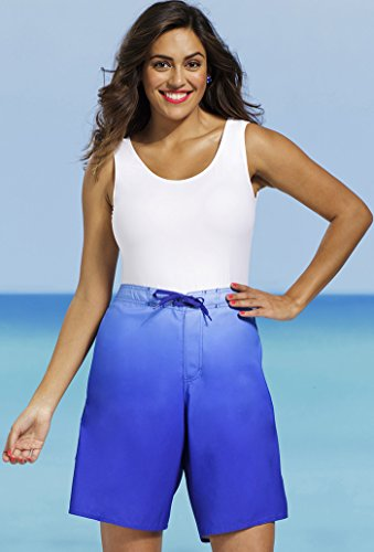 Beach Belle Women's Plus Size Long 26-30 Board Short 26 Blue