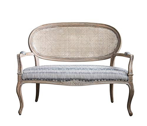 Creative Co-Op Cane Back Mango Wood Settee in Grey Striped Fabric