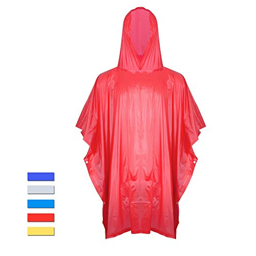 H&C Portable Raincoat Rain Poncho Hoods and Sleeves,Red,One (Red Poncho)