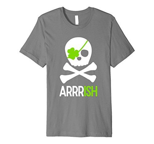 Mens St. Patricks Day Shirt Irish Pirate Skull and Cross bones Medium (Skull Bones Pirate)