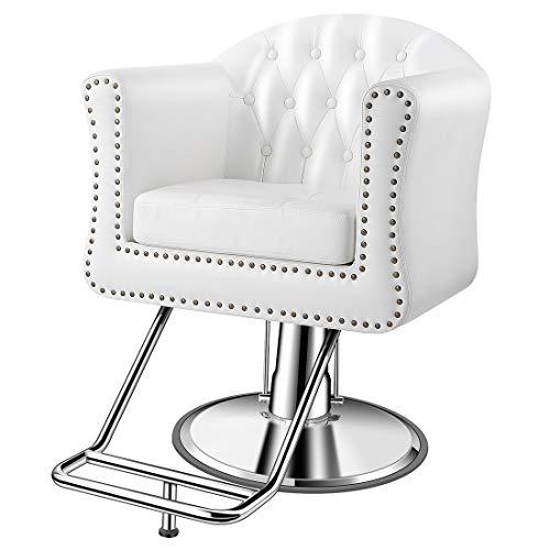 Baasha Salon Chairs for Hair Stylist, White Salon Chairs, Hair Stylist Chairs for Salon, Salon Styling Chair, Hair Salon Equipment, Hydraulic Salon Chair, White Styling Chairs