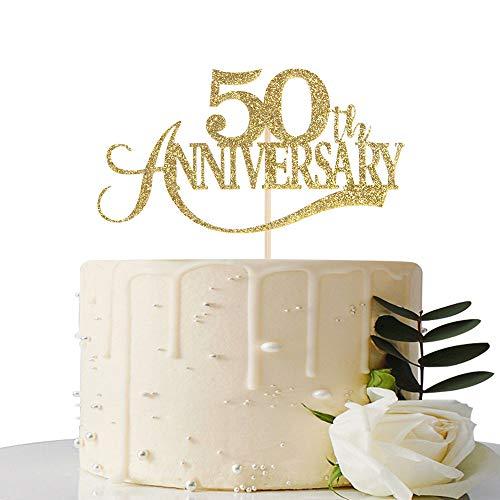 Gold Glitter 50th Anniversary Cake Topper - for