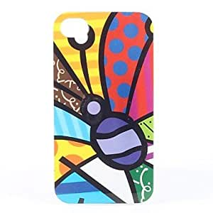 Butterfly with Round Dots Wings Pattern Transparent Frame Hard Case for iPhone 4/4S