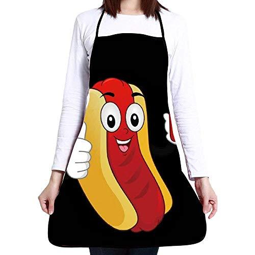 Aprons for Women Men Girls - Custom Cooking Waist Chef BBQ Adjustable Waterproof Apron (Funny Hotdog Ketchup) -
