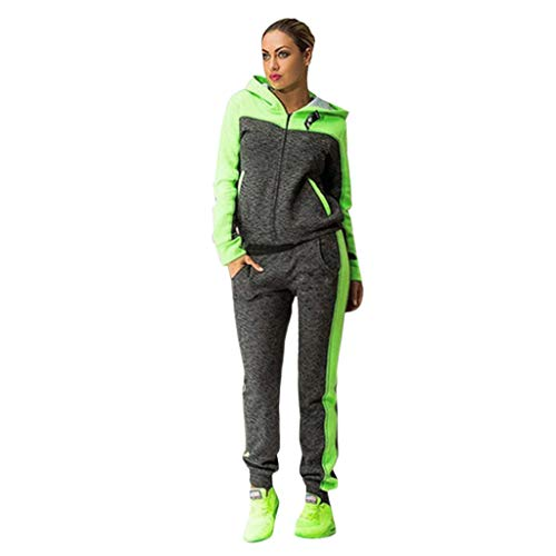 Women's 2 Pieces Outfits Color Block Long Sleeve Zipper Hooded Jacket Pants Set Tracksuits(L,Green)