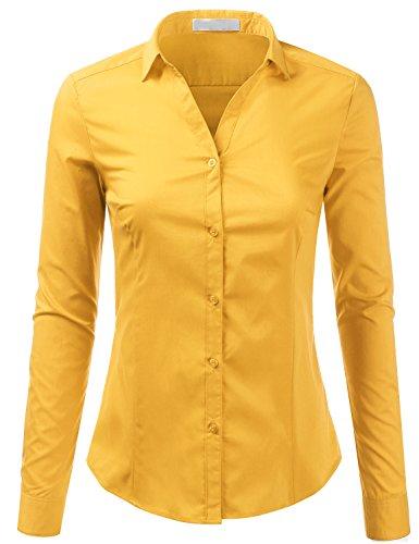 Foryous Women Button Down Shirt Long Sleeve Blouses Slim Fit Plus Size