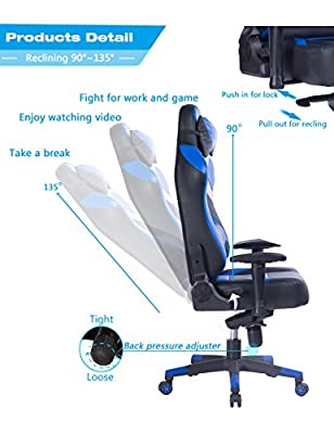 VON Racer Big and Tall Gaming Chair - Adjustable Tilt, Back Angle and 2D Arms Ergonomic High Back Racing Leather Executive Computer Chair, Detachable Headrest Lumbar Support, Blue by VON RACER