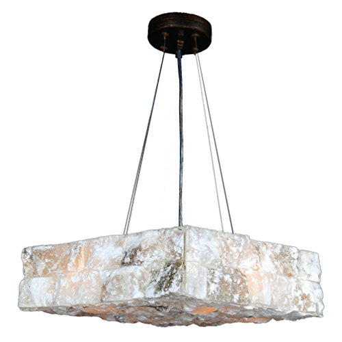 Worldwide Lighting Pompeii Collection 4 Light Flemish Brass Finish and Natural Quartz Square Pendant 14