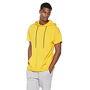 Rebel Canyon Young Men's Short Sleeve High-Low Pullover Hoodie Top with Raw Hems Small Yellow