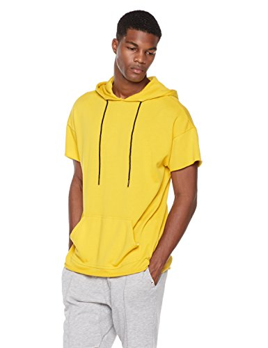 Rebel Canyon Young Men's Short Sleeve High-Low Pullover Hoodie Top With Raw Hems Medium - Measurements Male Models